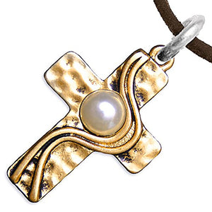Christian Cross, Two-Tone, Matte Gold & Silver, Faux Pearl Necklace, Adjustable - Nickel & Lead Free