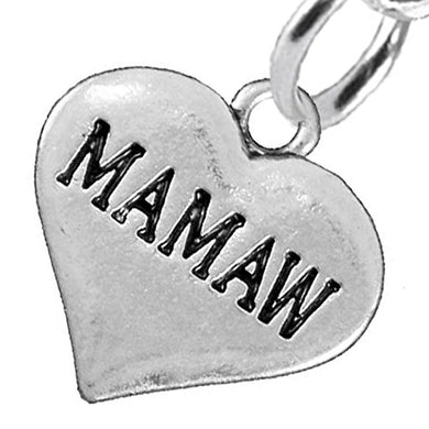 Mamaw Heart Charm Post Earrings ©2016 Hypoallergenic, Safe - Nickel, Lead & Cadmium Free!
