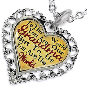 Grandma Heart Charm Necklace Hypoallergenic, Adjustable, Safe, Nickel, Lead & Cadmium Free