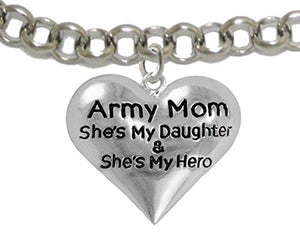 "Army Enlisted ""Daughter"", My Daughter Is My Hero Bracelet, Adjustable Safe - Nickel & Lead Free."