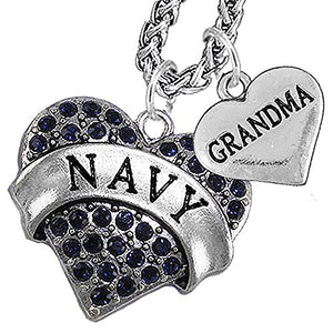 Navy Grandma Blue Crystal Necklace Heart Necklace, Will NOT Irritate Anyone with Sensitive Skin.