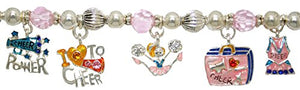 "Children's ""Cheer Power"" 7 Charm Hypoallergenic - Safe Nickel & Lead Free Stretch Bracelet"