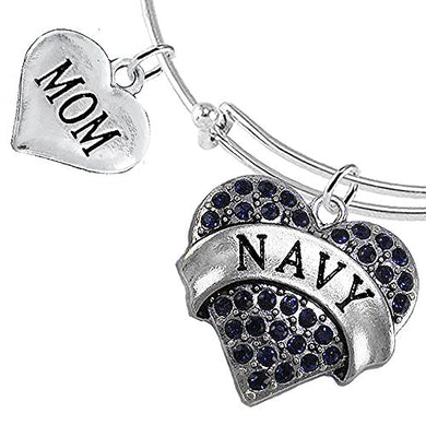 Navy Mom Blue Crystal Heart Bracelet, Will NOT Irritate Anyone with Sensitive Skin. Nickel Free