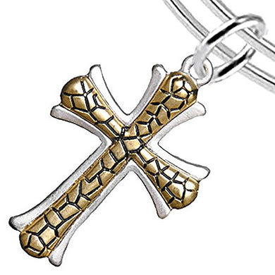 Cross Two-Tone Matte Gold Ikarian Pattern Hypoallergenic, Safe - Nickel, Lead & Cadmium Free