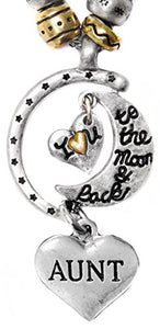 "Aunt ""I Love You to The Moon & Back"", Adjustable, Hypoallergenic, Will NOT Irritate Sensitive Skin"