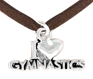 I Love Gymnastics Necklace, Adjustable, Hypoallergenic, Nickel, Lead & Cadmium Free