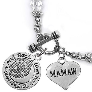 Mamaw, I Love You to The Moon & Back Clear Crystal Charm Bracelet, Safe, Nickel Free.