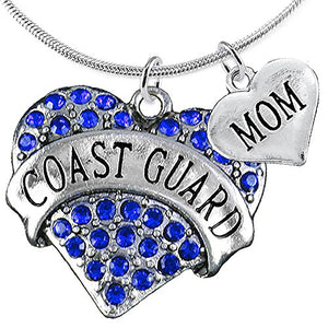 "Coast Guard ""Mom"" Heart Necklace, Adjustable, Will NOT Irritate Anyone with Sensitive Skin."
