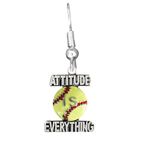 "Attitude Is Everything, Softball Fishhook Earring"" ©2011 Safe - Nickel & Lead Free!"