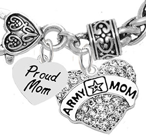 "The Perfect Gift Proud ""Mom"", Army Mom Hypoallergenic Bracelet, Safe - Nickel & Lead Free"