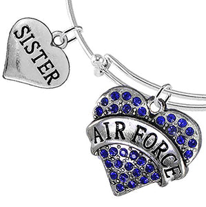 "Air Force ""Sister"" Heart Bracelet, Will NOT Irritate Anyone with Sensitive Skin. Safe - Nickel Free"