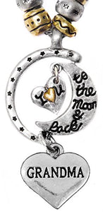 "Grandma ""I Love You to The Moon & Back"", Adjustable, Will NOT Irritate Sensitive Skin. Nickel Free."