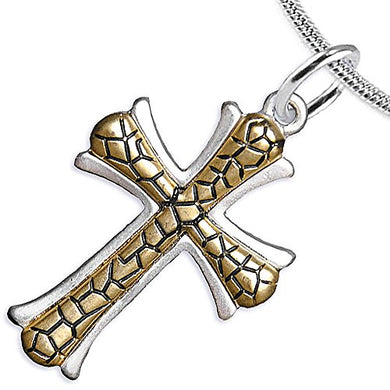 Cross Two-Tone Matte Gold Ikarian Pattern, Adjustable Necklace Safe - Nickel & Lead Free