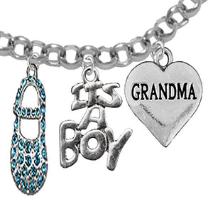 "Grandma, ""It's A Boy"", Adjustable Bracelet, Hypoallergenic, Safe - Nickel & Lead Free"