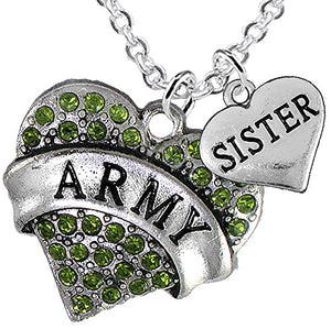 "Army ""Sister"" Heart Necklace, Adjustable, Will NOT Irritate Anyone with Sensitive Skin. Safe"