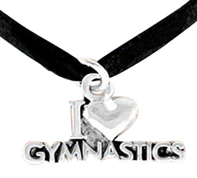I Love Gymnastics Necklace, Adjustable, Hypoallergenic, Nickel, Lead & Cadmium Free!