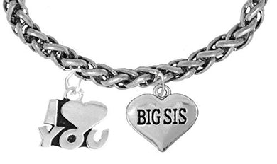Big Sis I Love You Wheat Chain Bracelet, Hypoallergenic, Safe - Nickel & Lead Free