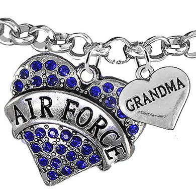 Air Force Grandma Heart Bracelet, Will NOT Irritate Anyone with Sensitive Skin. Safe - Nickel Free