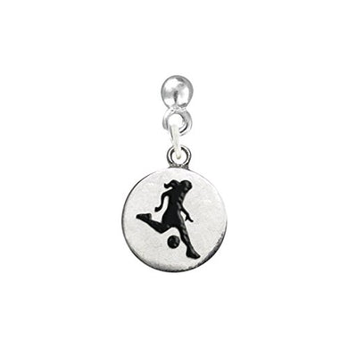Girl Kicking the Ball, Two-Sided Soccer Earring