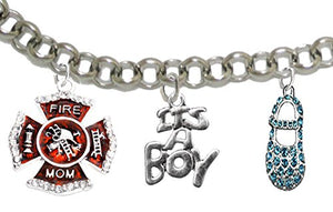 "Firefighter ""Mom"", ""It's A Boy"", Adjustable Bracelet, Hypoallergenic, Safe - Nickel & Lead Free"