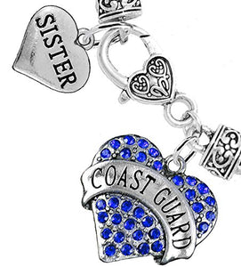 "Coast Guard ""Sister"" Heart Bracelet, Will NOT Irritate Anyone with Sensitive Skin Safe - Nickel Free"