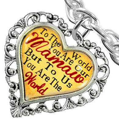 Mamaw Heart Charm Bracelet ©2016 Hypoallergenic, Safe, Nickel, Lead & Cadmium Free!