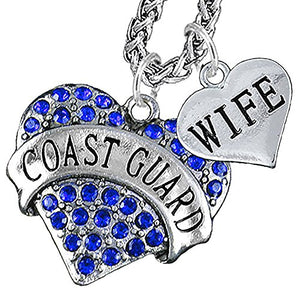 Coast Guard Wife Heart Necklace, Will NOT Irritate Anyone with Sensitive Skin - Nickel & Lead Free