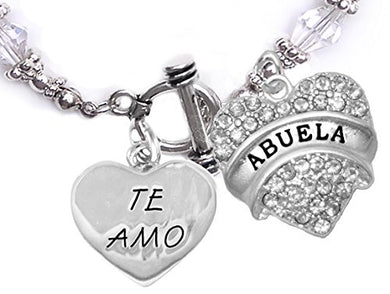 Te Amo Abuela Toggle Crystal Bracelet, Hypoallergenic, Safe - Nickel & Lead Free