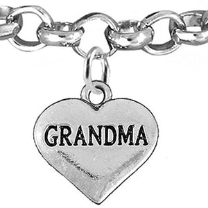 Grandma Heart Charm Bracelet ©2016 Hypoallergenic, Adjustable, Safe, Nickel, Lead & Cadmium Free!
