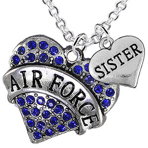 "Air Force ""Sister"" Heart Necklace, Adjustable, Will NOT Irritate Anyone with Sensitive Skin. Safe"