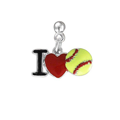 I Love Softball Heart, Post Earring