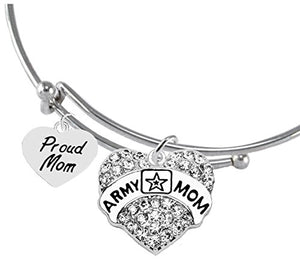 "The Perfect Gift Proud ""Mom"", Army Mom Hypoallergenic Adjustable Bracelet, Safe - Nickel & Lead Free"