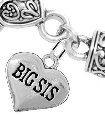 Big Sis Heart Charm Bracelet ©2016 Hypoallergenic, Safe, Nickel, Lead & Cadmium Free!
