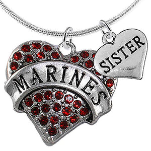 "Marine ""Sister"" Heart Necklace, Adjustable, Will NOT Irritate Anyone with Sensitive Skin. Safe"