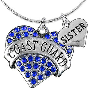 "Coast Guard ""Sister"" Heart Necklace, Adjustable, Will NOT Irritate Anyone with Sensitive Skin. Safe"