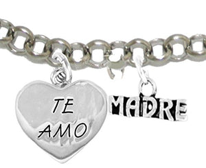 Te Amo Madre Adjustable Bracelet, Hypoallergenic, Safe - Nickel & Lead Free