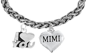 Mimi I Love You Wheat Chain Bracelet, Hypoallergenic, Safe - Nickel & Lead Free