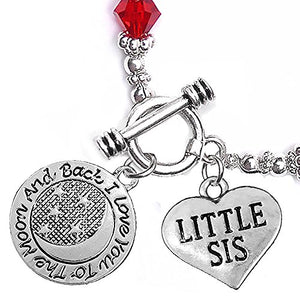 "Little Sis, ""I Love You to The Moon & Back"", Red Crystal Charm Bracelet, Safe, Nickel Free."