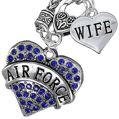 Air Force Wife Heart Necklace, Will NOT Irritate Anyone with Sensitive Skin. Safe - Nickel Free