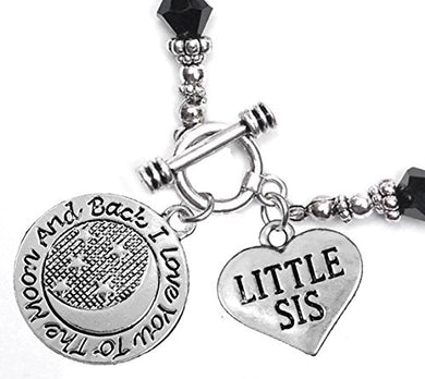 Little Sis, I Love You to The Moon & Back Jet Crystal Charm Bracelet, Safe, Nickel Free.