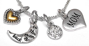 "Mom ""I Love You to The Moon & Back"", Adjustable Necklace Set, Will NOT Irritate Sensitive Skin, Safe"