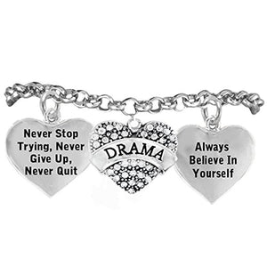 "Perfect Gift Theater Drama Crystal Bracelet ""Drama"", ""Never Give Up"" Adjustable, Nickel & Lead Free"