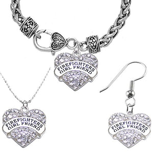Firefighter's Girlfriend Necklace, Earring, and Bracelet Set, Hypoallergenic - Nickel & Lead Free