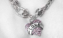 LOVE Pink Crystal Heart Charm on Silver Tone Heart-Sharped Lobster Clasp Bracelet