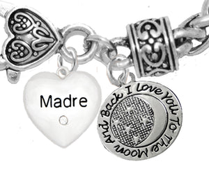 Mom, Madre Crystal Heart, I Love You To The Moon And Back, No Nickel. Lead, Cadmium  1891-1818B1