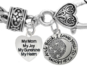 My Mom, My Joy, My Sunsh,I Love You To The Moon And Back,Hypoallergenic-No Nickel,Lead 1893-1818B1