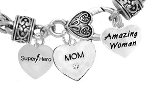 Mom,Super Hero,Crystal Mom Heart,, Amazing Woman No Nickel Lead 1910-1860-265B1