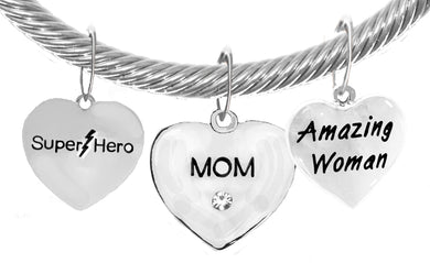 Mom,Super Hero,Mom,Amazing Woman, Adjustable Hypoallergenic No Nickel. Lead, 1910-1860-265B22