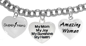 Super Hero,My Mom, My Joy, Amazing Woman Charm Adjustable, No Nickel. Lead,Cadmium  1910-1893-265B2