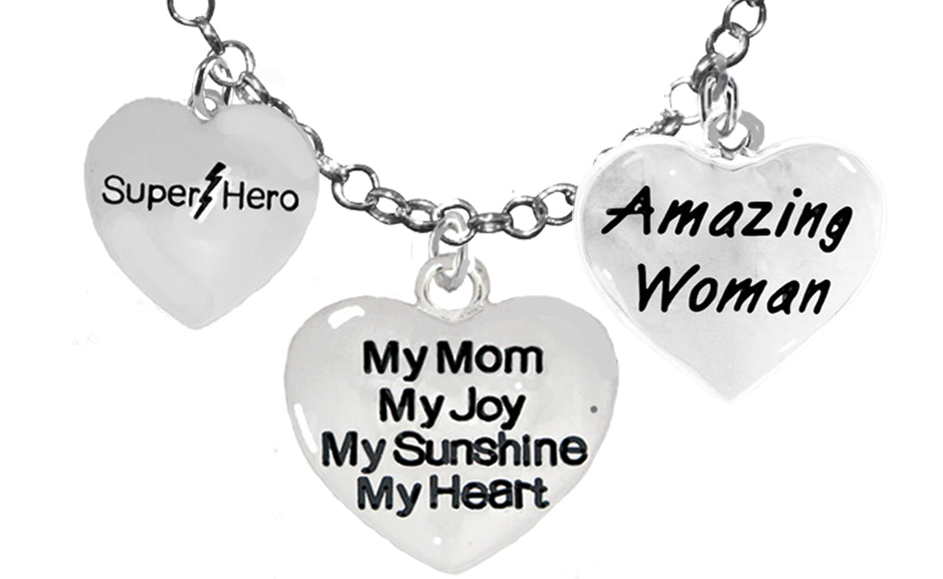 Mom, Super Hero,My Mom,My Joy,Amazing Woman Necklace, Adjustable, No Nickel. Lead 1910-1893-265N16